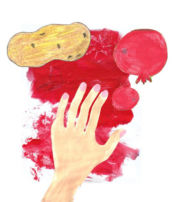 collage illustration pomegranate h and potato