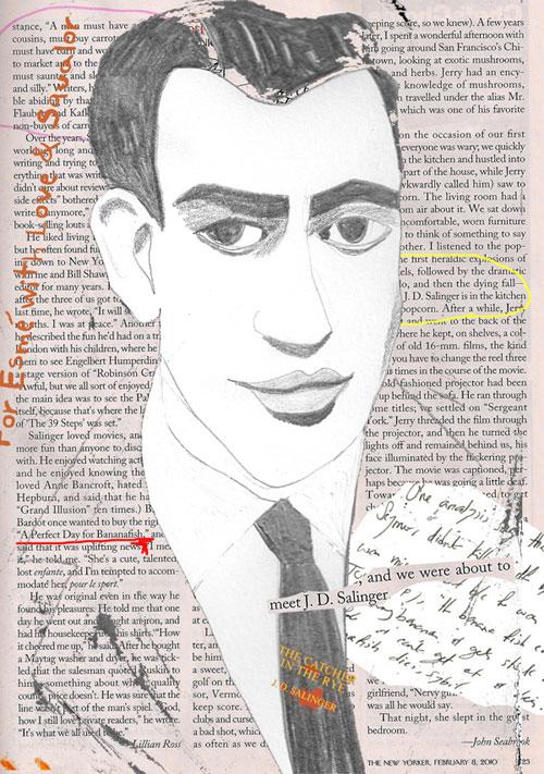 Salinger illustration collage portrait by azita houshiar