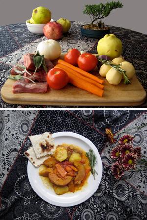 Persian Quince dish tas kabob