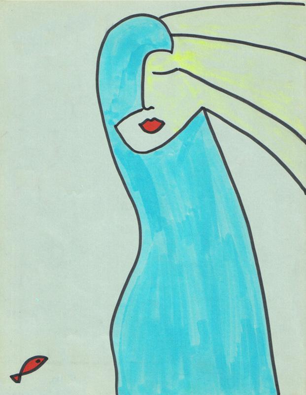 drawing-woman-fish-illustration-zen