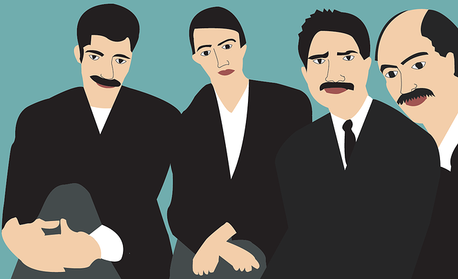 mustache cafe men illustration vector art digital portrait
