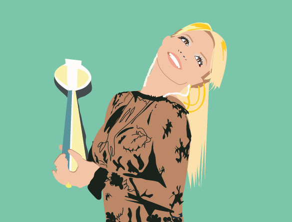 Britney Spears Illustration holding award smiling close up