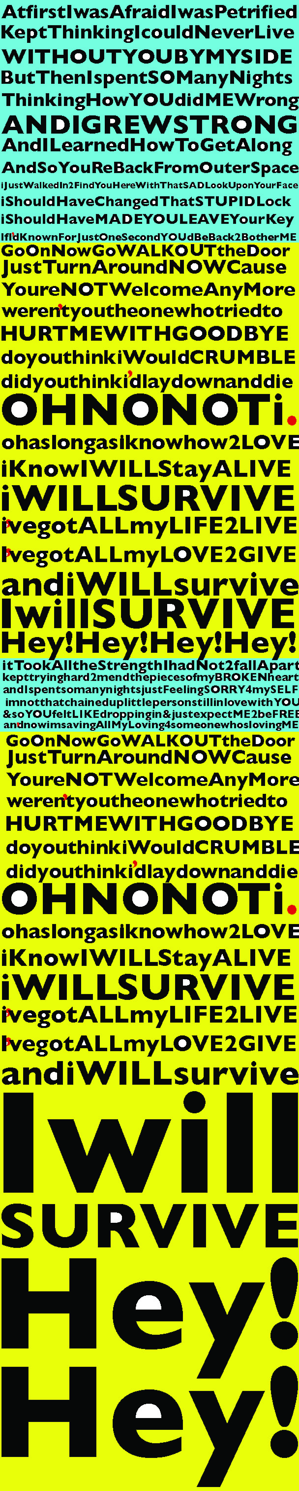 graphic illustration of I will Survive song's lyrics Gloria Gaynor bold