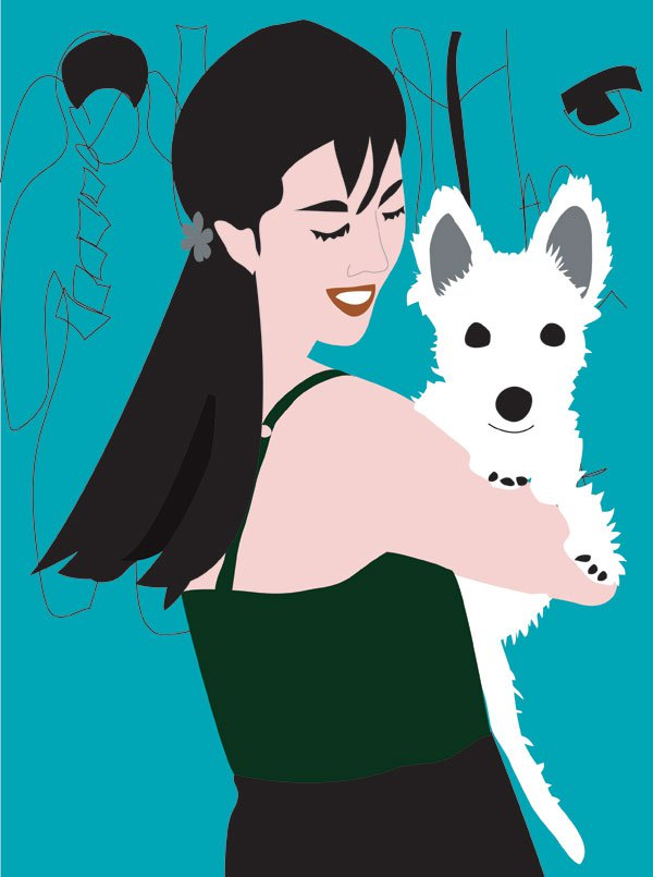 girl puppy portrait illustration digital Westie