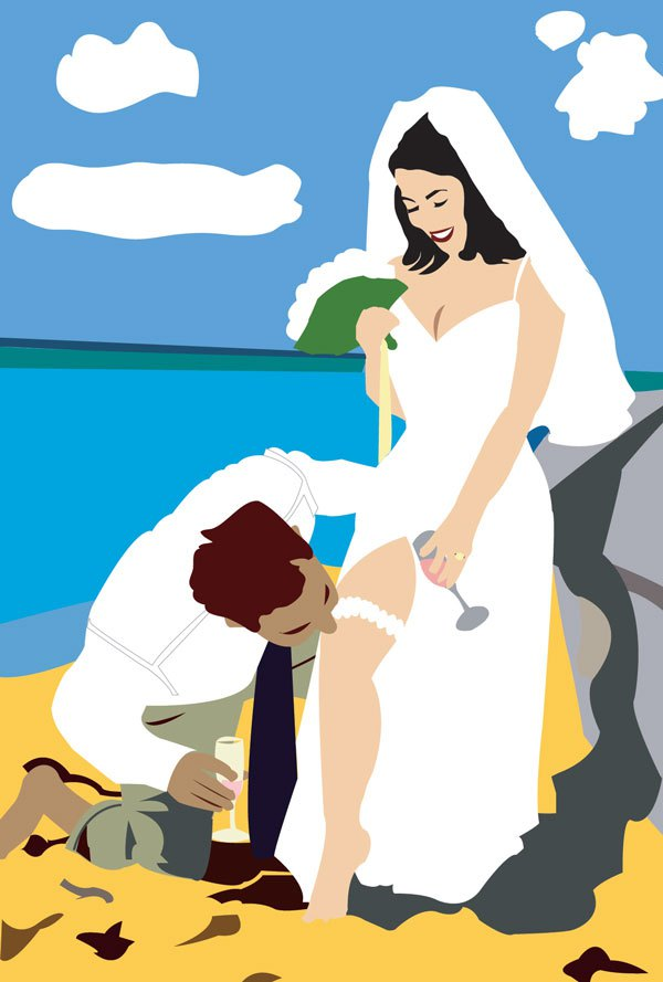 bride groom garter kiss beach illustration digital art